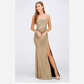 Delia Sparkle Evening Dress in Gold