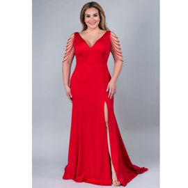 Tamira Beaded Sleeve Evening Dress in Red