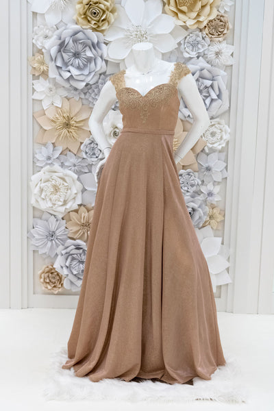 Aubrielle Shimmer Evening Gown in Gold