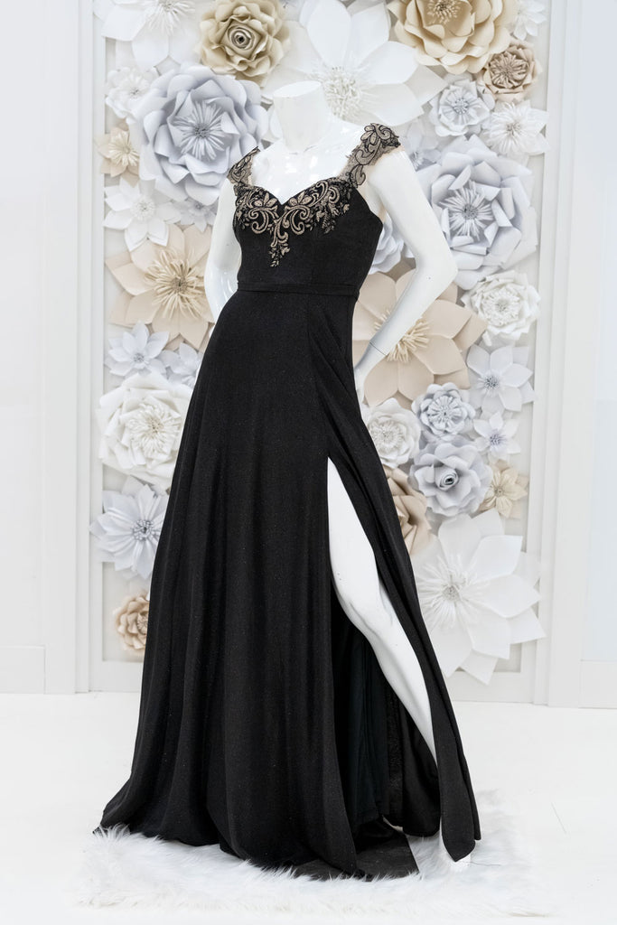 Aubrielle Shimmer Evening Gown in Black