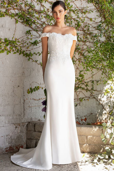 Oriana Off Shoulder Bridal Gown in White