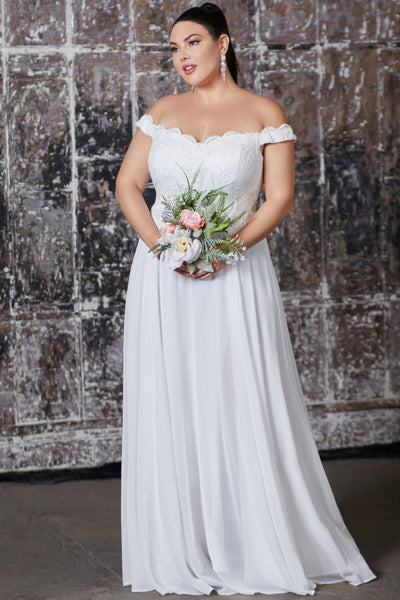 Joanna Off Shoulder Chiffon Bridal Gown in White
