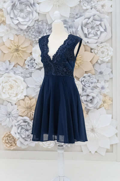 Ophelia Embroidered Bodice Dress in Navy Blue