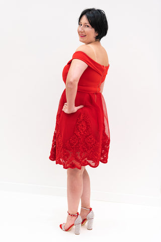 Josephina Off Shoulder Dress in Red