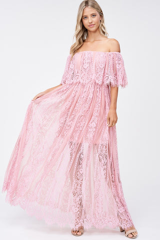 Seraphina Lace Off Shoulder Evening Gown in Pink