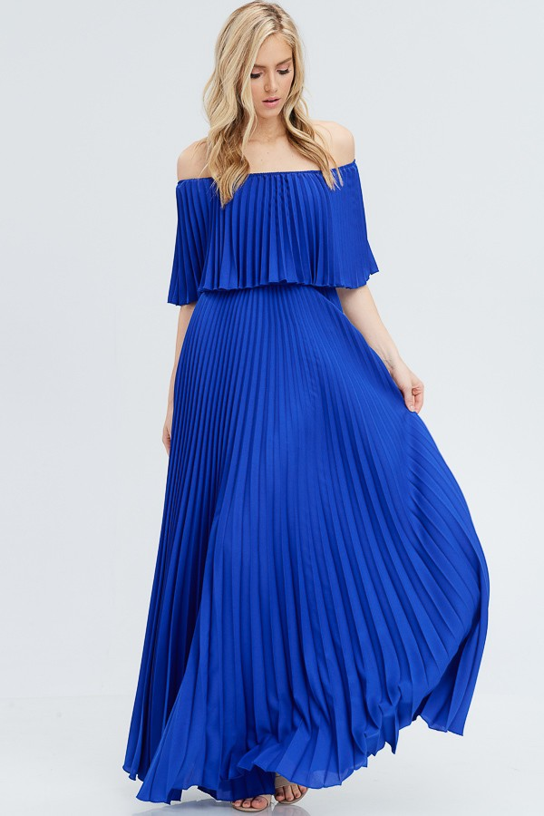 Madison Off Shoulder Evening Gown in Royal Blue