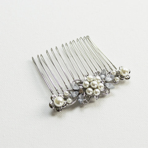 Crystal and Pearl Flower Hair Comb