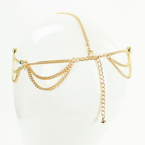 Gold Rhinestone Head Chain
