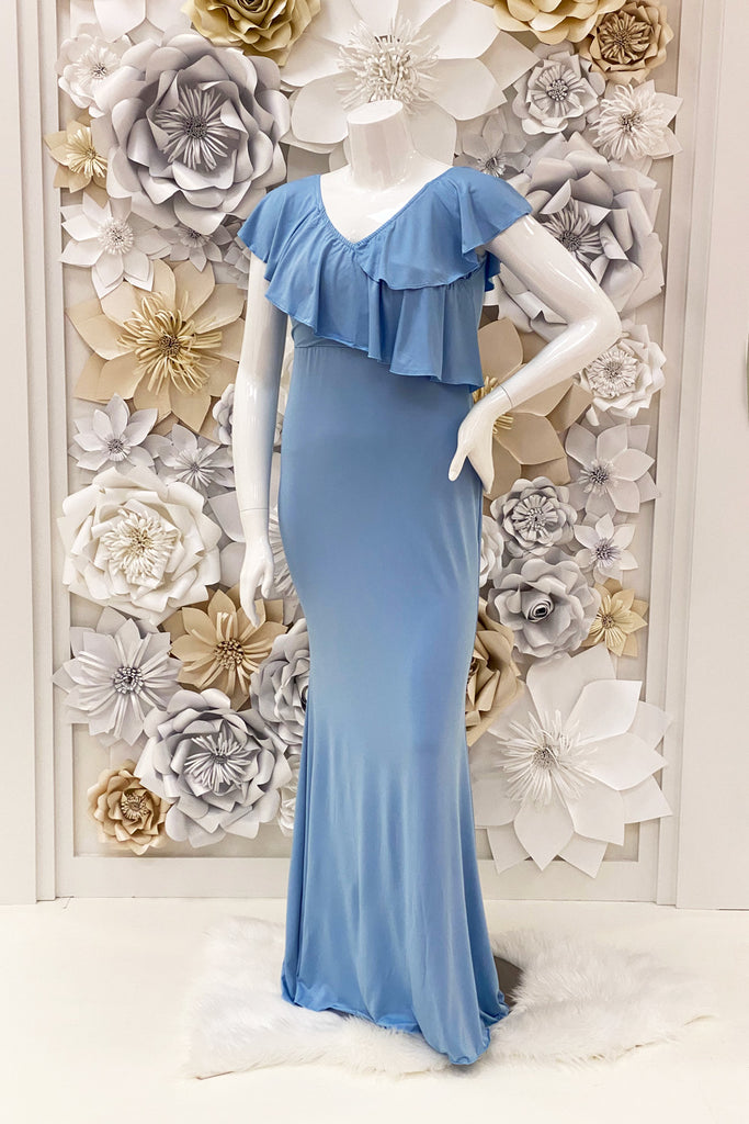 Zenaida Ruffle Evening Dress in Light Blue