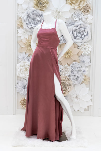 Casidee Satin Evening Gown in Mauve