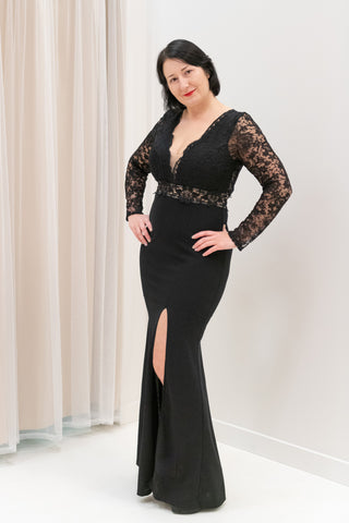 Lace-Bodice-Open-Back-Long-Sleeve-Black-and-Nude-Evening-Dress