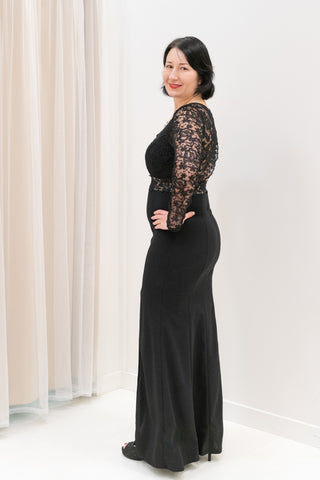 Long-Sleeve-Black-Evening-Gown-with-Slit