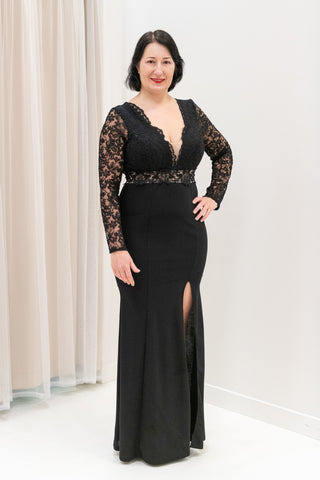 Lace-Bodice-Open-Back-Long-Sleeve-Black-Evening-Gown