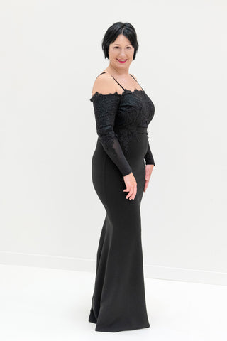Celeste Embroidered Bodice Evening Gown in Black