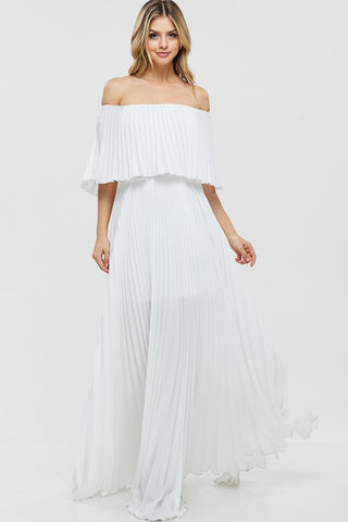 Madison Off Shoulder Evening Gown in White