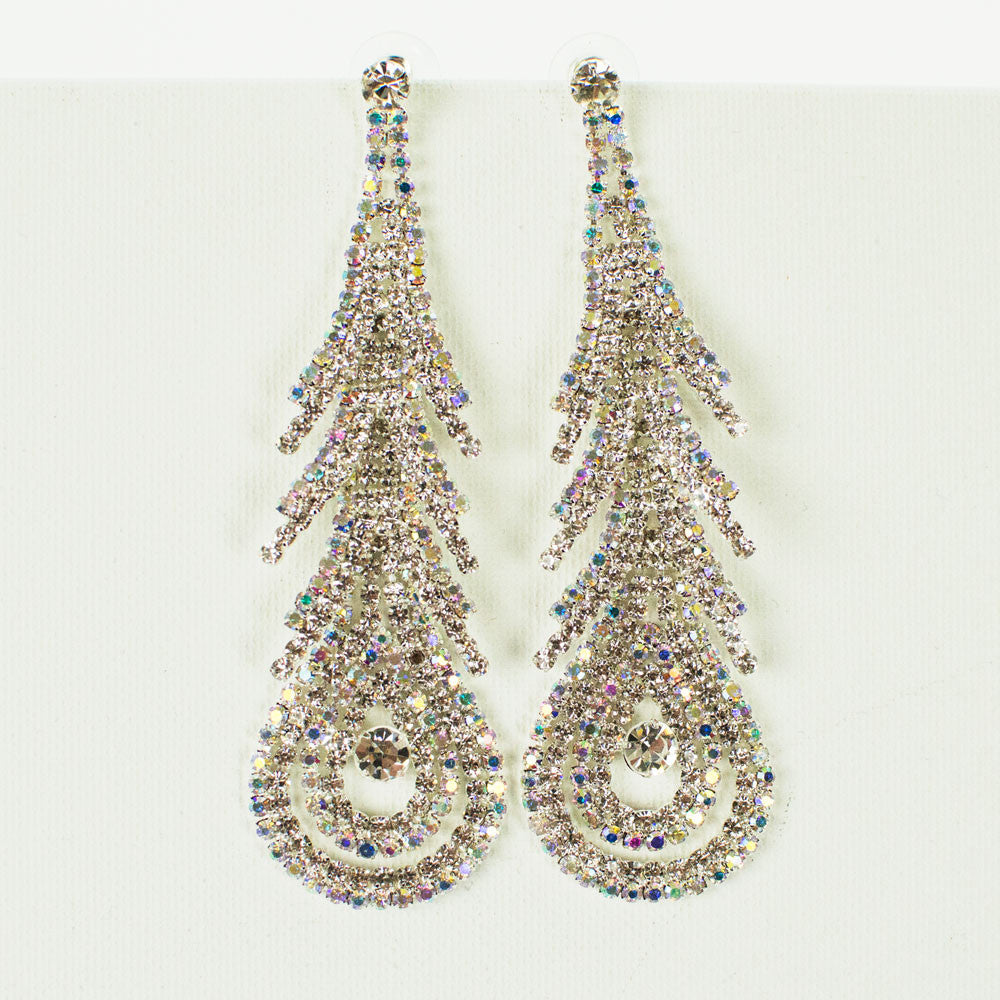 Abstract Peacock Feather Rhinestone Earrings