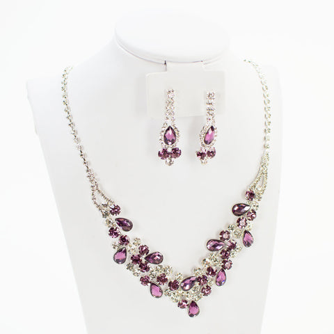 Lilac Crystal Necklace Set
