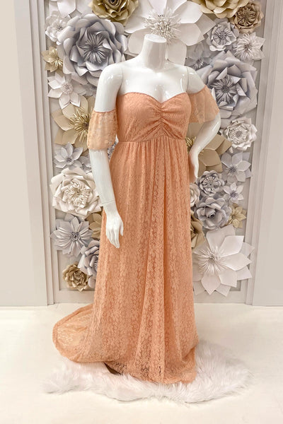 Maternity-Photo-Shoot-Stretchy-Off-Shoulder-Lace-Dress-in-Peach