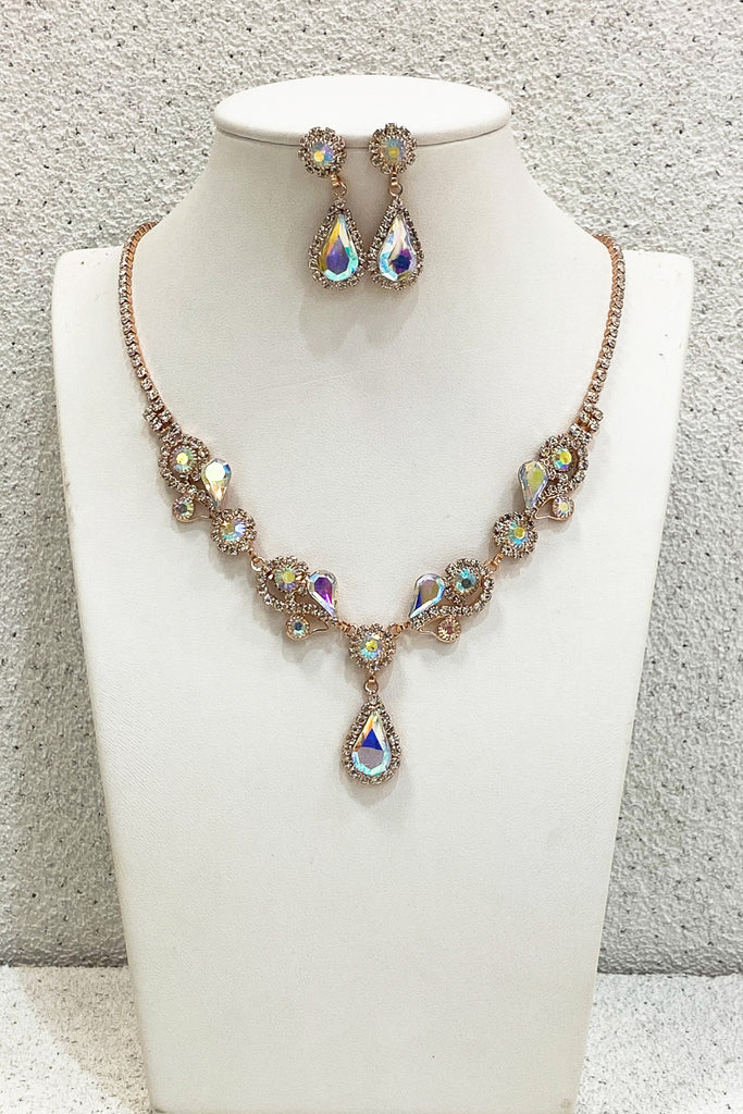 Whimsical-Design-Rose-Gold-AB-Formal-Necklace-Set