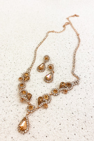 Rose-Gold-Rhinestone-Necklace-Set-for-Prom