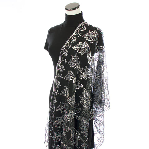 Black and White Formal Shawl