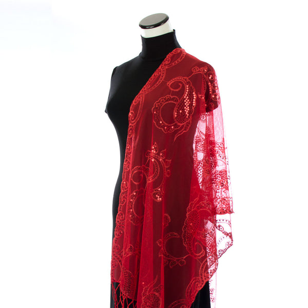 Scarlet Red Sequin Shawl for Prom Dress
