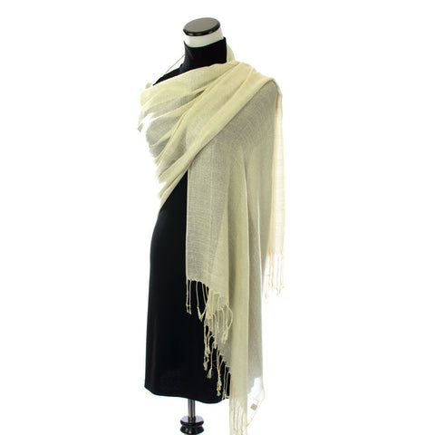 Ivory Shawl with Silver Shimmer