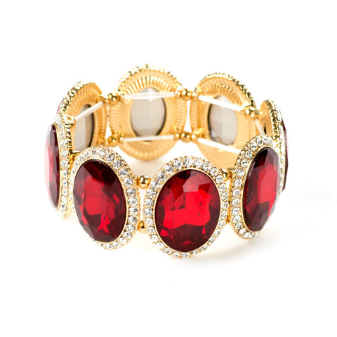 Red Oval Crystal Link Bracelet