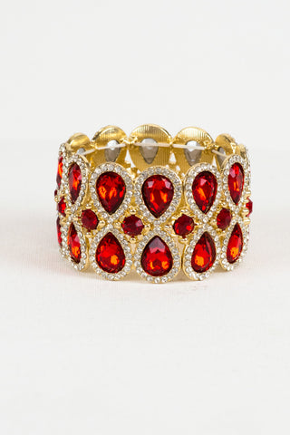 Red and Gold Formal Stretch Bracelet