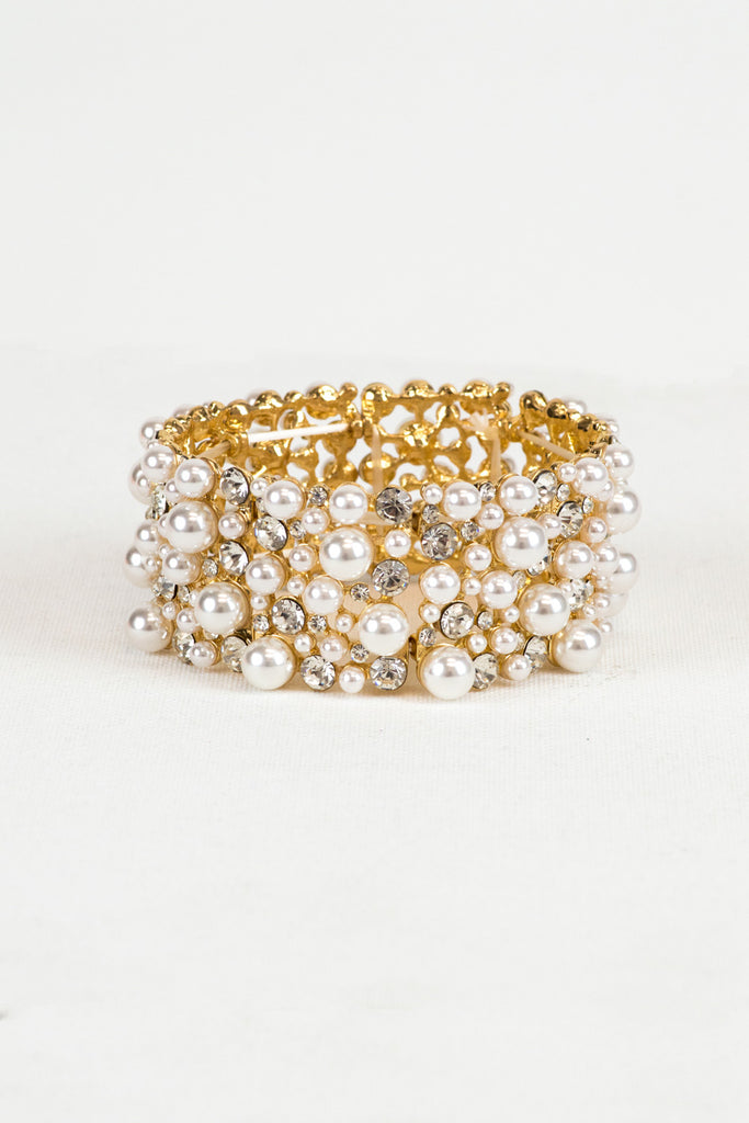 Gold and Ivory Pearl Statement Bracelet