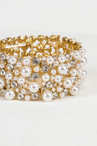Gold and Ivory Pearl Bridal Bracelet