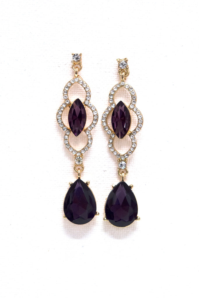 Ornate Design Purple Formal Earrings