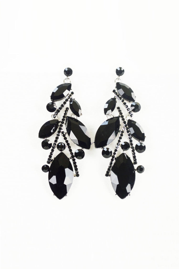 Abstract Leaf Crystal Earrings