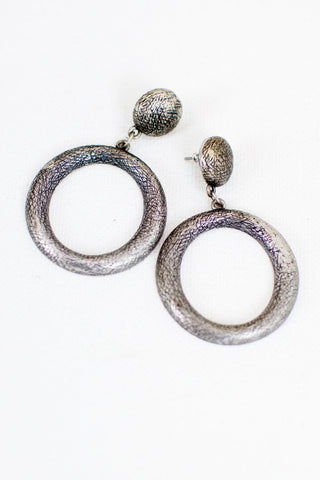 Medium Silver Circle Earrings