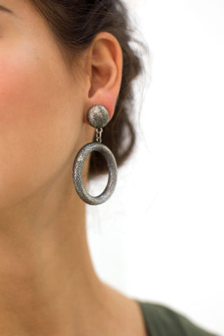 Edgy Etched Circle Earrings