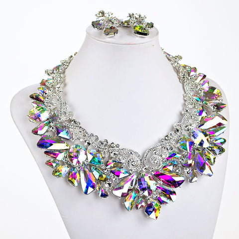 Aurora Borealis Statement Necklace Set
