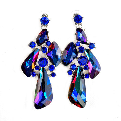 Large Blue Crystal Earrings