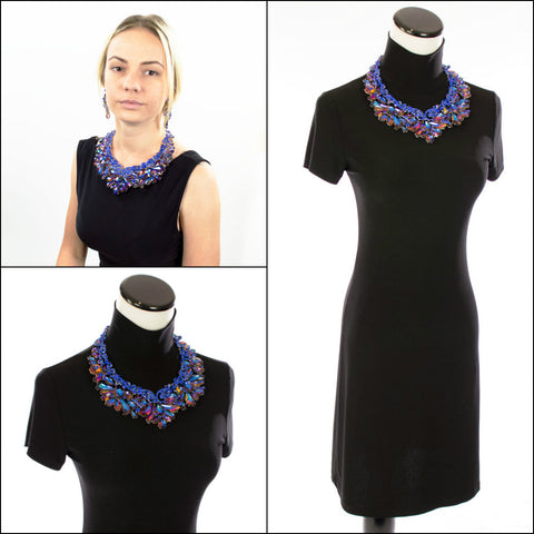 Iridescent Blue Statement Necklace Set