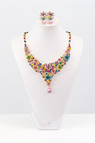 Spring Garden Crystal Flower Necklace Set