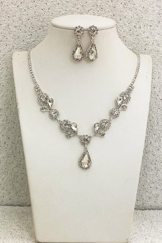 Silver-with-Clear-Crystals-Wedding-Necklace-Set