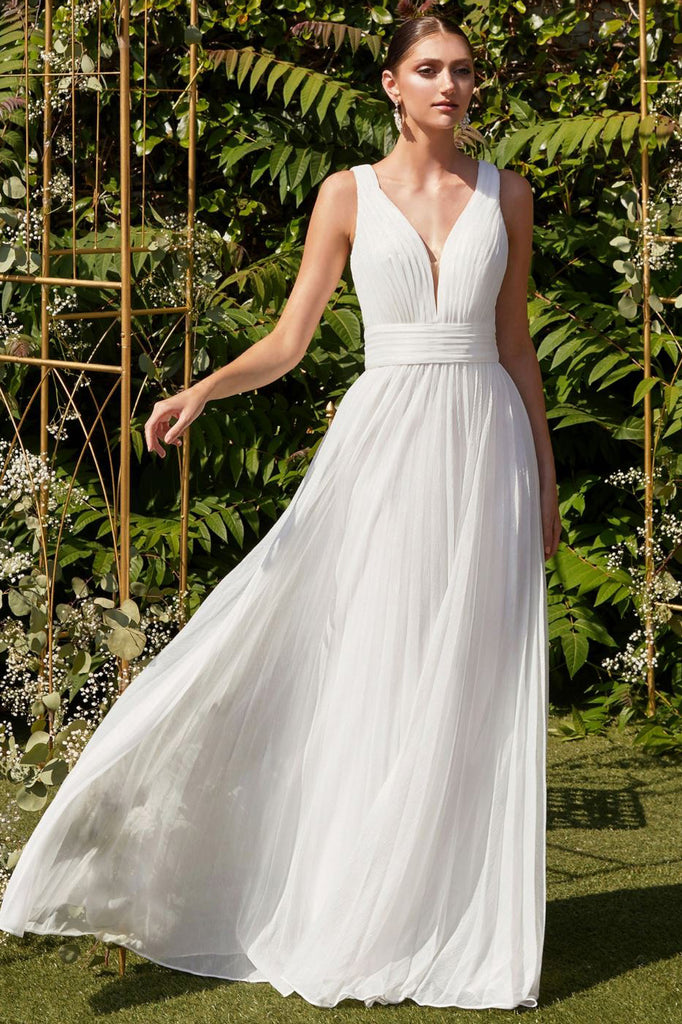 Cassandra Fit and Flare Bridal Gown in White