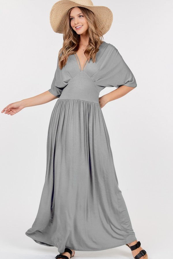 Grey-Dolman-Sleeve-Casual-Jersey-Maxi-Dress