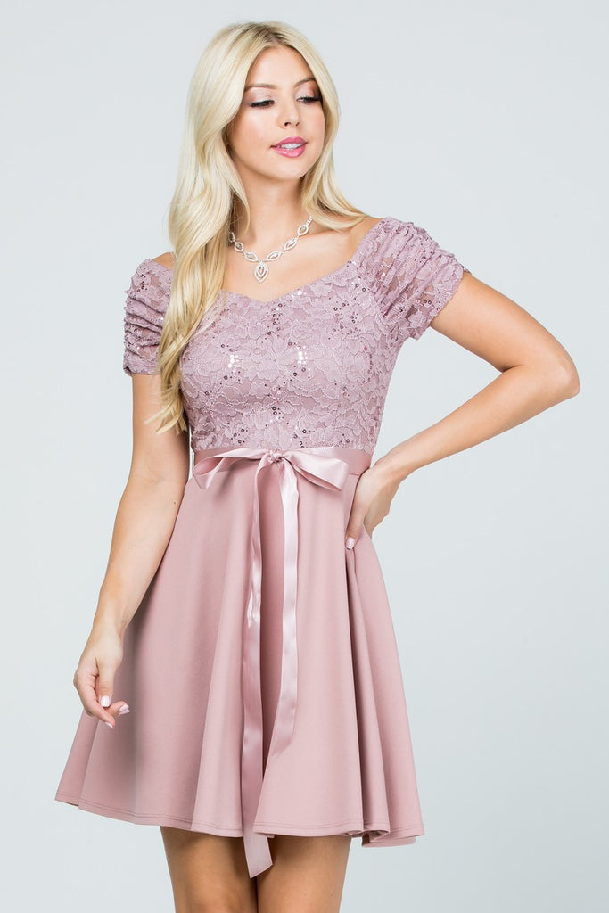 Juliette Fit and Flare Dress in Dusty Rose