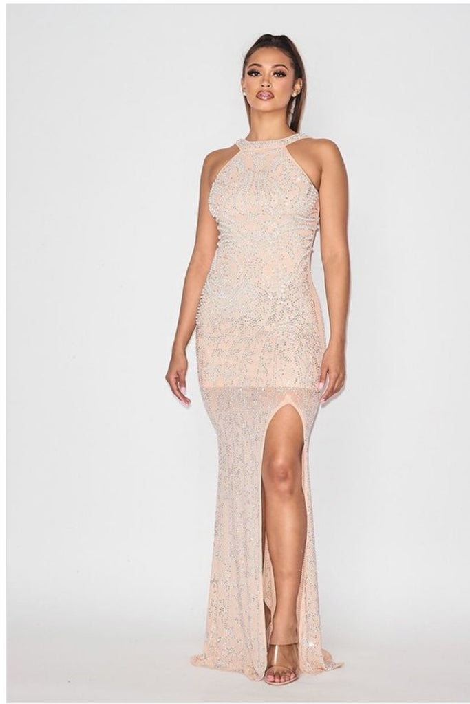 High-Neck-Tight-Rhinestone-Evening-Dress-in-Nude