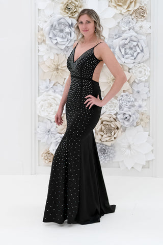 Teghan Studded Evening Dress in Black