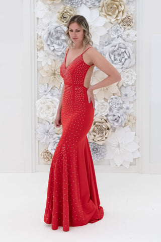 Teghan Studded Evening Dress in Red