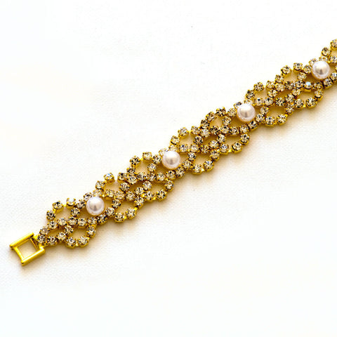 Gold Wedding Rhinestone Bracelet