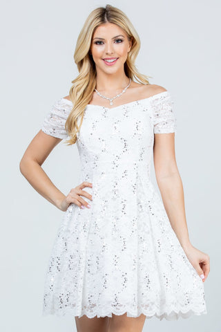 Julietta Fit and Flare Dress in White