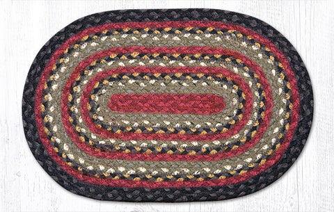 C-019 Burgundy/Mustard Braided Rug Oval 10