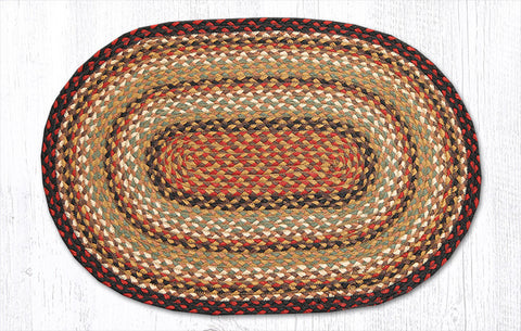 C-319 Burgundy, Mustard and Ivory Braided Rug